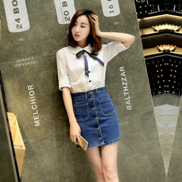 81c3ccfde Cowboy Short Skirt Women 2017 New Fashion Summer Fitted Denim Jeans Skirt  Slim Korean Fashion Hem A Line Pencil Skirts