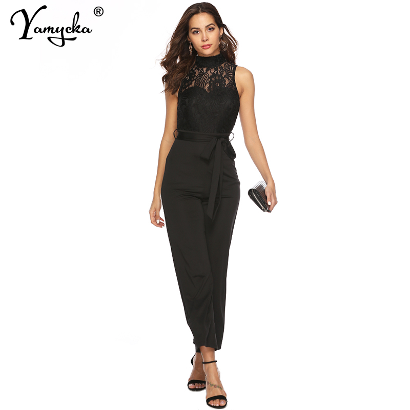 Sexy Black Lace perspective bodysuit women Summer body mujer sleeveless bodycon jumpsuit elegant Night club overalls streetwear