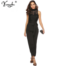 Sexy Black Lace perspective bodysuit women Summer body mujer sleeveless bodycon jumpsuit elegant Night club overalls streetwear sexy black satin mesh perspective summer bodysuit women lace up metal chain bandage jumpsuit beach party night club overalls new