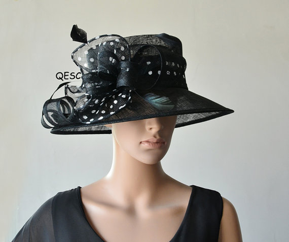 New Black White Polka Dot Sinamay Hat Formal Dress Hat For