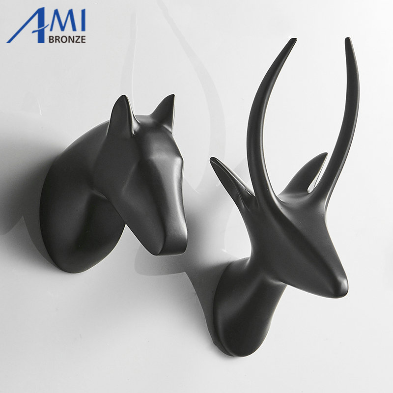 Solid Horse Antelope Head Coat Hooks Wall Hang Mounted Towel Hook Gold / Black Painted Clothes Hook Bathroom Hardware