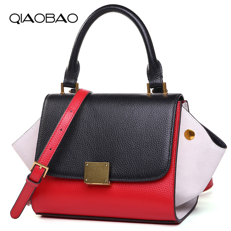 QIAOBAO Genuine Leather Bag Luxury Handbags Women Bags Designer Ladies Messenger Bags Brand Trapeze Bag Leather bolsa sac a main qiaobao trapeze bag women leather handbags luxury brand bags sac a main bag female shoulder ladies luxury women bags design tote