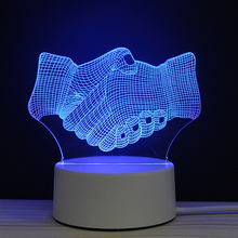 LED 3D Business Cooperation Partner Handshake Night Lamp Light Luminary With Touch n Remote Lamps Lights Kids Decoration Mylamp