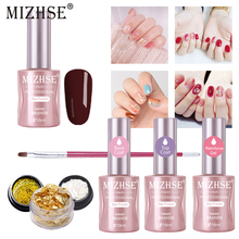 MIZHSE Gel Nail Polish Set Hybrid Manicure Gellak Esmalte Permanente 18ml UV LED Primer Top Coat Poly Varnish Polishes