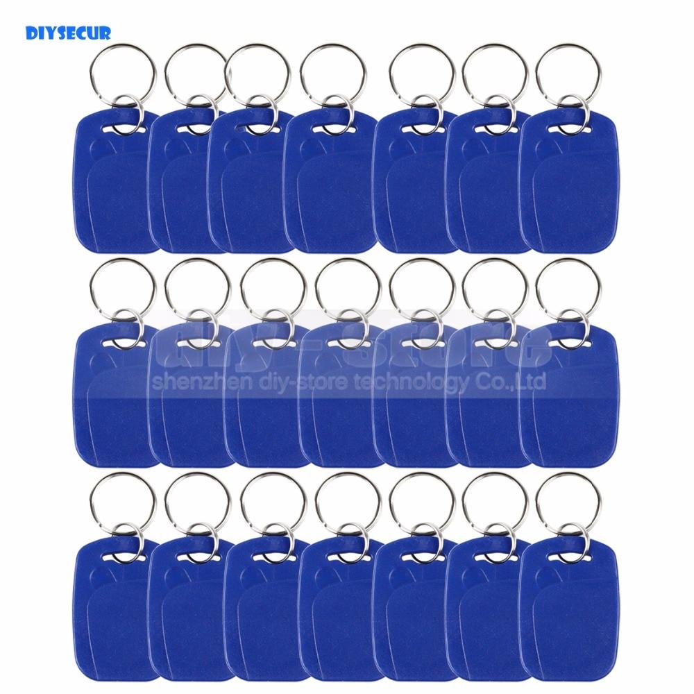 DIYSECUR 100pcs/lot Rfid 125Khz Proximity Rfid Id Card Key chain Key Tags Keyfobs turck proximity switch bi2 g12sk an6x