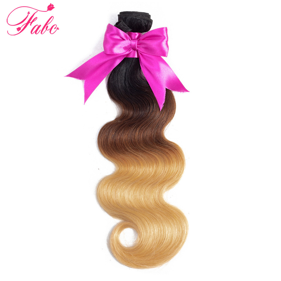 FABC Ombre Brazilian body Hair 1b/4/27 Human Hair weave 3 Tone bundles Non-Remy human Hair Extensions can mix any length