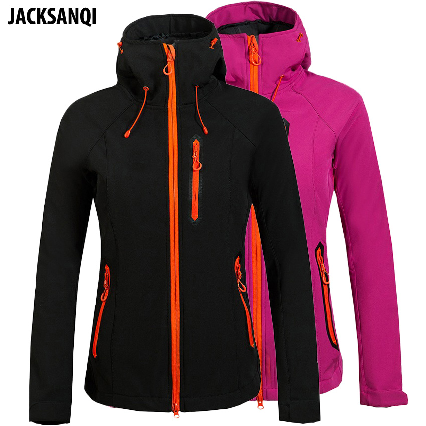 JACKSANQI Women Winter Fleece Heated Softshell Jacket Women Mountain Climbing Ski Trekking Camping Female Windbreaker Coat RA089