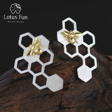 hot deal buy unique handmade jewelry special honeycomb earrings.genuine 925 sterling silver.new women accessories 2015 boucle d'oreille joias