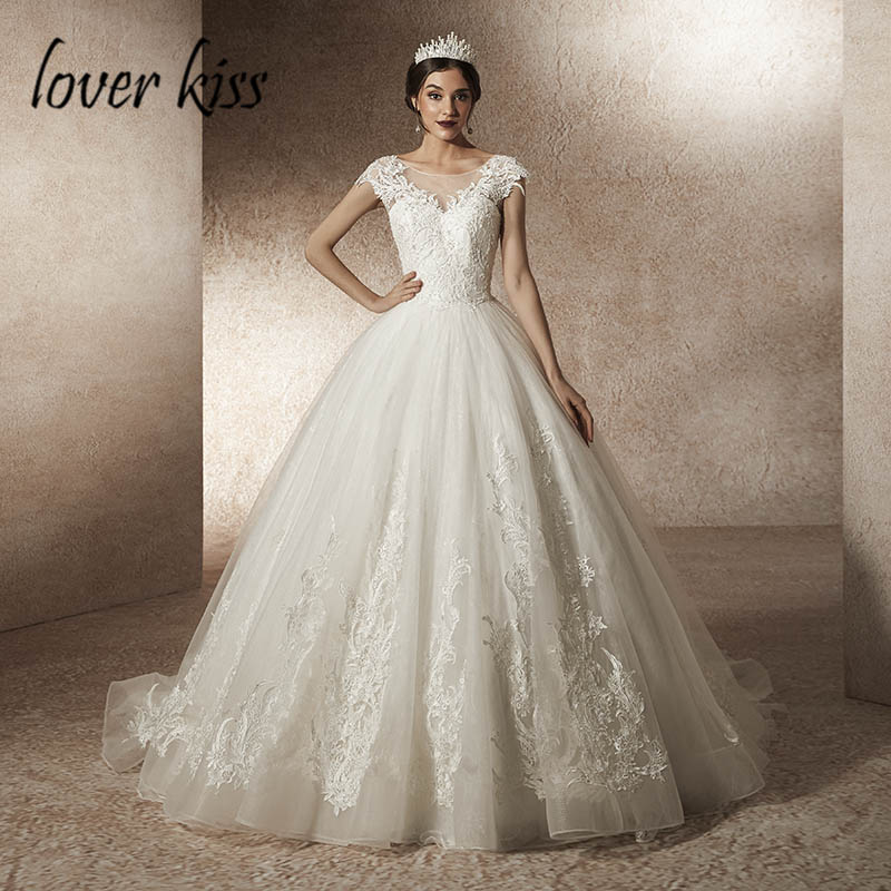 Lover Kiss Vestido De Noiva 2019 Beaded Lace Cap Sleeve Wedding Dresses Princess Church Bridal Gowns