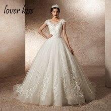 Lover beijo real foto bola vestido de casamento vestidos para as mulheres boné manga princesa vestido de noiva de renda vestido de noiva robes mariage