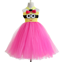 New Design Cosplay Solid Color Baby Infant Tutu Dress With A Minion In Front Toddler S