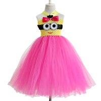 Yeni tasarım cosplay ile Katı Renk Bebek bebek tutu elbise için önünde bir minion yürüyor en summe elbise 0-12years