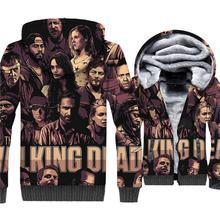The Walking Dead 3D Print Hoodie Men Rick Hooded Sweatshirt Winter Thick Fleece Warm Zip up Coat Cool Jacket Hip Hop Streetwear