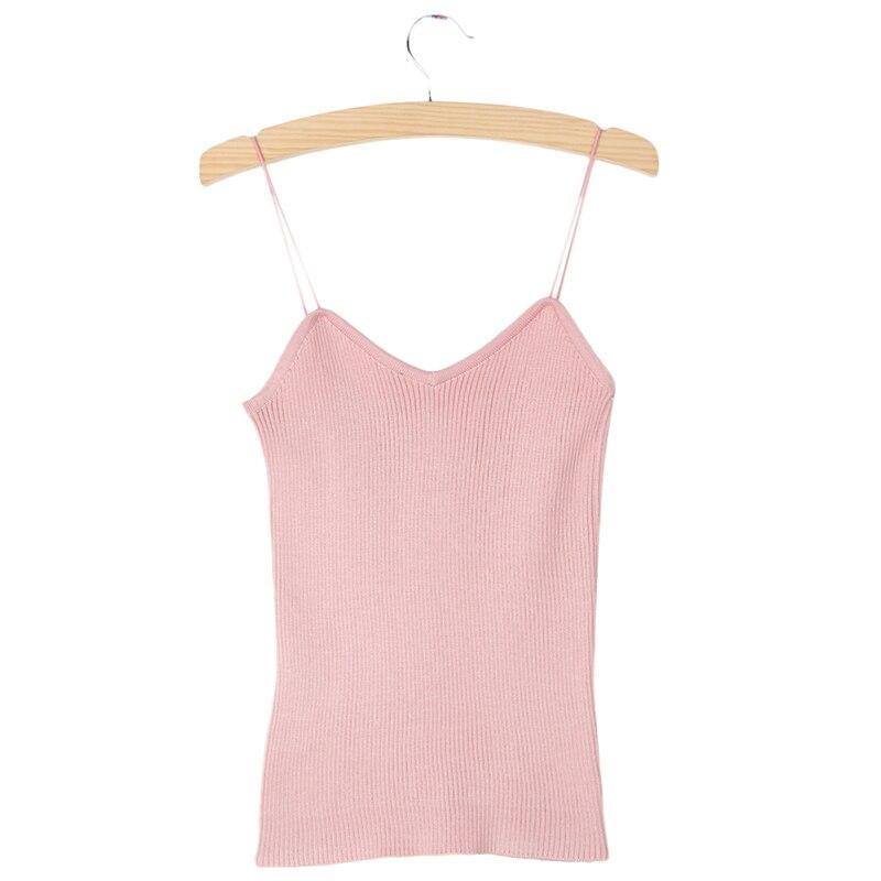 Hot Knit Tank Tops Women Camisole Vest Simple Stretchable V Neck Slim Sexy Straps Tank