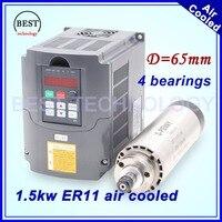 Новое поступление! 1.5kw ER11 воздушное охлаждение фрезерный шпиндель шпинделя 4 подшипник воздушного охлаждения с ЧПУ 65x204 мм точности 0,01 и 1.5kw