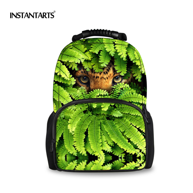 INSTANTARTS Creative Green Leaves Travel Backpack Men Cool Animal Printing Backpacks for Teenege Boys Packs Children School Bags