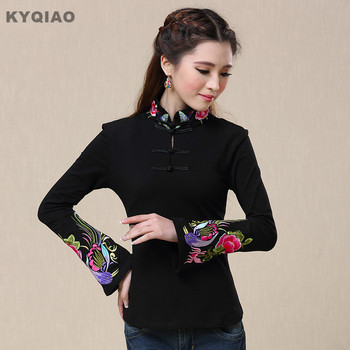 KYQIAO Traditional Chinese clothing 2017 women vintage design mandarin collar long sleeve white black rose red embroidery shirt diy crop top