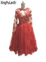 Вечернее платье пикантные короткие с длинным рукавом Scoop декольте сзади V кружева аппликация Homecoming платье Короткие платья выпускного вечер
