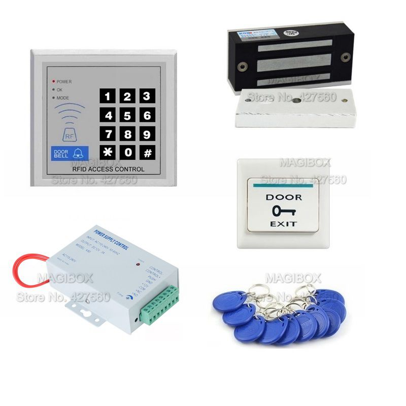 ACSS28 Door Access Control System Kit 60kg Magnetic Lock +Power Supply+RFID Key Fobs 60kg 1 to 4 remote control power supply 12v 3a door cabinet case box electric magnetic lock for rfid door access control system
