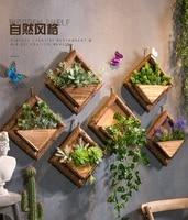 Creative Wall Hanging Wooden Flowerpots With Hemp Rope With Flower Ornamental Hanging Baskets Garden Restaurant Decoration