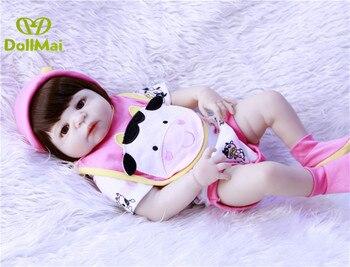 DollMai 57cm Full Silicone Body Reborn Baby Doll Toy Like Real Newborn Girl Princess Babies Doll Bathe Toy Kid Gift Reborn