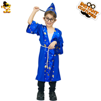 DSPLAY High Quality Kids Harry Potter Costume Cute Blue Magic Boy Cartoon Movie Character For Halloween Christmas Carnival Party