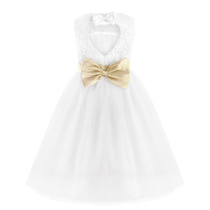 Image 3 - TiaoBug White Flower Girl Dress Kids Pageant Birthday Formal Party Lace Long Dress Bowknot First Communion Dress Prom Gown 2 12Y