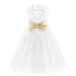 Image 3 - TiaoBug blanc fleur fille robe enfants Pageant anniversaire fête formelle dentelle longue robe noeud papillon première Communion robe robe de bal 2 12Y