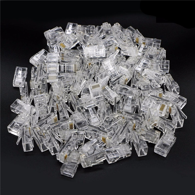 цена на 500pcs Crystal 8Pin RJ45 Modular Plug Rj-45 Network Cable Connector Adapter for Cat5 Cat5e Cat6 Rj 45 Ethernet Cable Plugs Heads