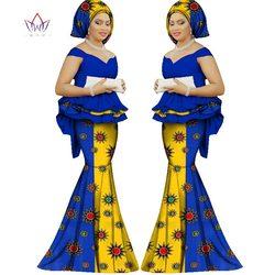 Été jupe set africaine dashiki femmes traditionnelle bazin impression plus la taille africaine dashiki robes pour femmes costume 2 pièces WY1312