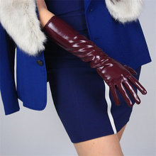 Patent Leather Gloves New 2019 Female Long PU Simulation Warm Bright Mirror Wine Red 40cm Womans P60