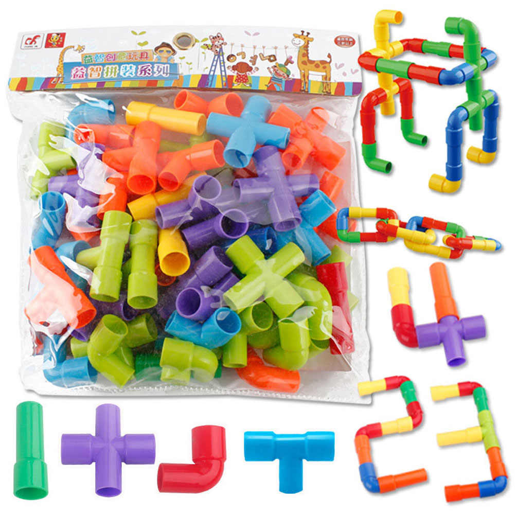 Colorful Water Pipe Building Blocks for Children Kids DIY Assembling Tunnel Block Model Toys YH-17