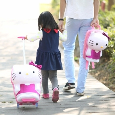 14,16Inch,Student Hello Kitty Backpack suitcase on wheels for children,Girls Trolley Suitcase Travel Bag,Kid Rolling Luggage