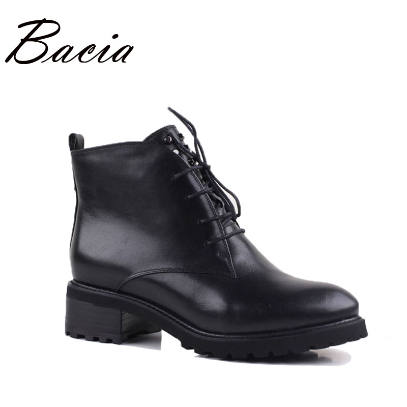 Bacia Low Heel Genuine Leather Boots Winter Handmade Warm Wool Fur Women Snow Shoes Soft Comfortable Quality Ankle Boots VE002