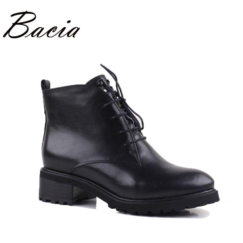 Bacia Low Heel Genuine Leather Boots Winter Handmade Warm Wool Fur Women Snow Shoes Soft Comfortable
