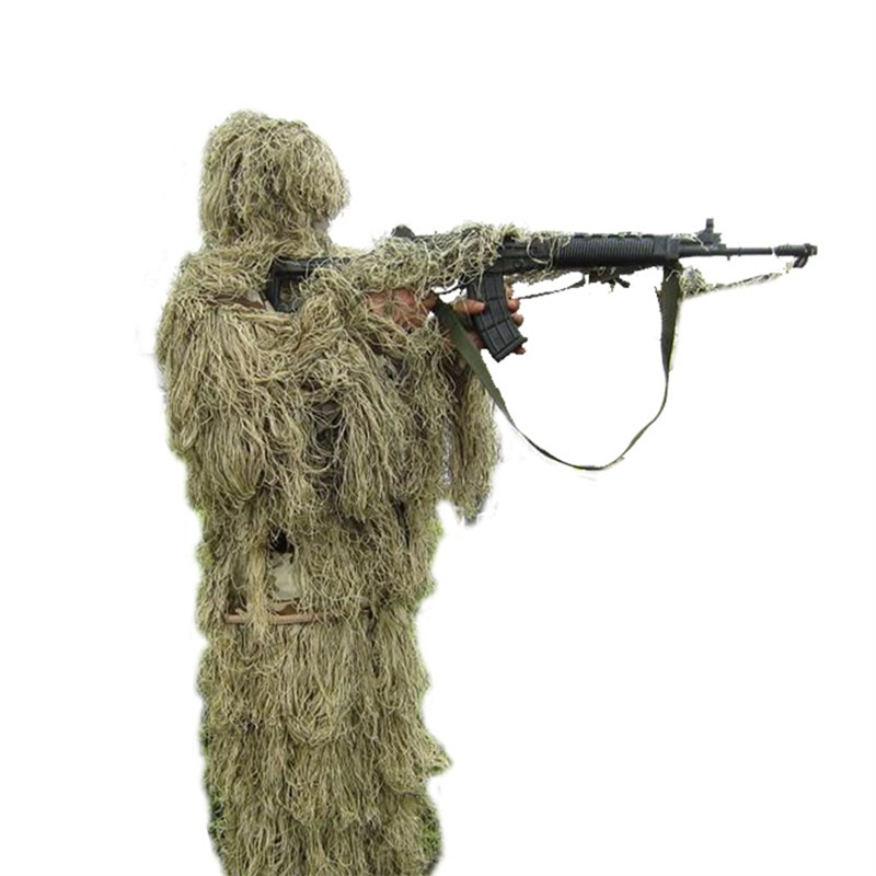 Outdoor Military Woodland 3D Bionic Leaf Hunting Ghillie Suits Sniper Survival Training Jungle Camouflage Shade Hunt Clothing outdoor military jungle 3d bionic leaf hunting ghillie suits sniper woodland camouflage shade hunt clothing survival training