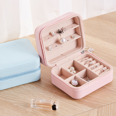 New Korean Style 3-Storey Girl Earrings Plate Jewelry Box Portable PU Earrings Ring Necklace Multi-Function Jewelry Storage Box