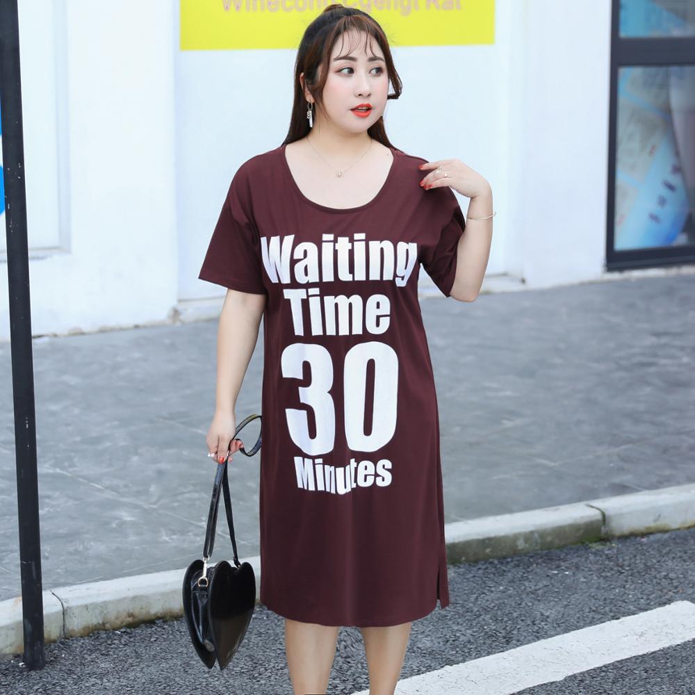 MINSUNDA Plus Size Letters Printed Tee Dress Women O Neck Short Sleeve Crisscross Back Casual Dress Summer Shift T Shirt Dress