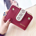 Women Hollow Wallet Case Vintage Lady Purse Female Letter Flower Money Clips PU Leather Women Wallet Short Hasp Wallet QB59