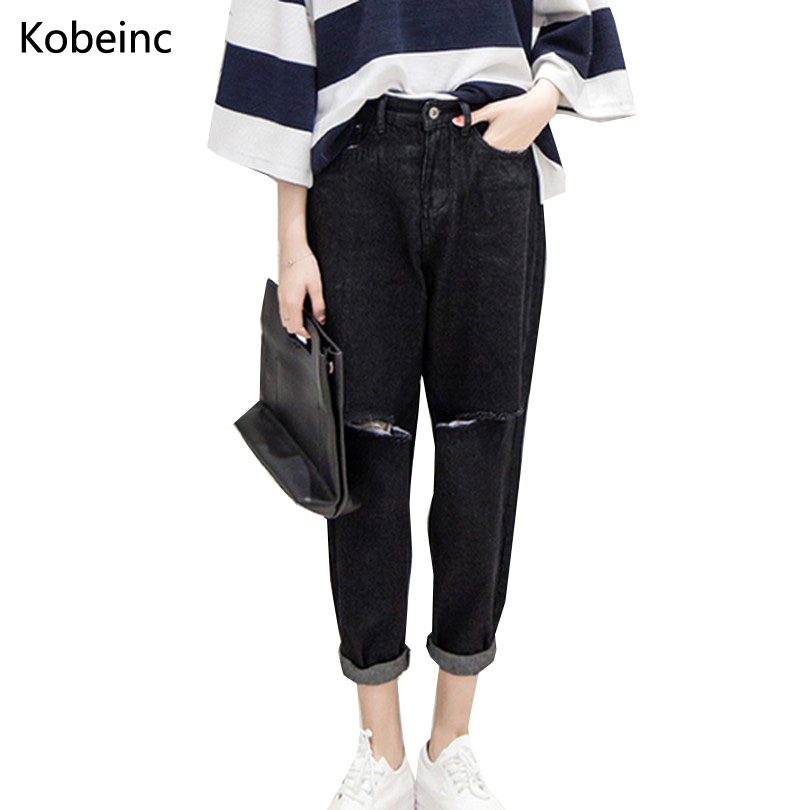 Casual Solid Washed Black Jeans Loose Denim Harem Pants Vintage Style Ripped Holed Women Trousers Fashion High Waist Pantalons women high waist denim harem pants vintage style bleached pants casual ripped hole ankle length loose soft harem jeans