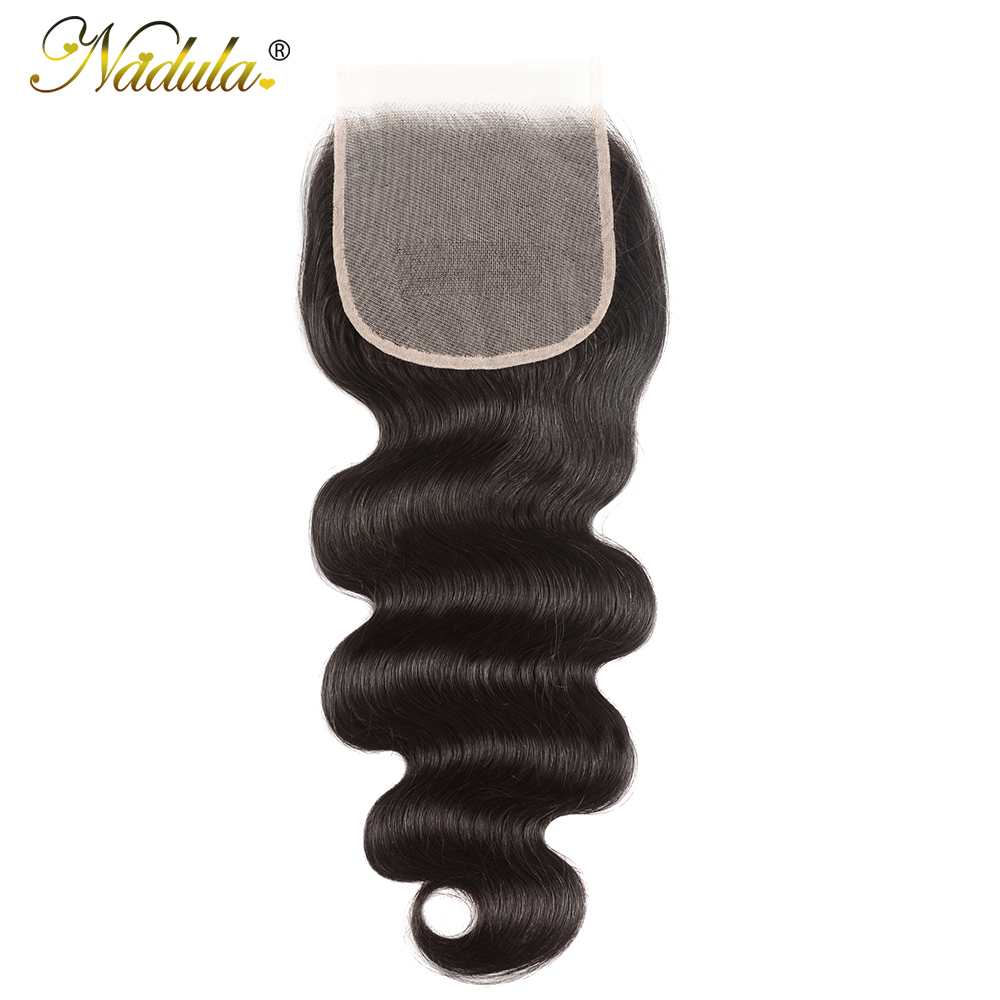 Nadula Hair 5x5 Lace Closure Brazilan Body Wave Hair Weave Transparent Lace /Medium Brown Closure Remy Human Hair Closure(China)