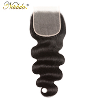 Nadula Hair 5x5 Lace Closure Brazilan Body Wave Hair Weave Transparent Lace /Medium Brown Closure Remy Human Hair Closure
