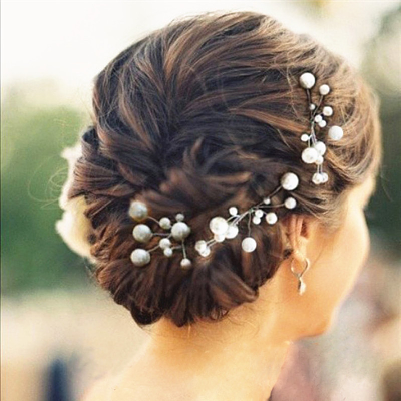 Bridal Hairpin Set with Pearl Rhinestone  Wedding Hair Piece Romantic Vintage Flower Garden Winery