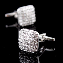 Bridegroom Wedding Party Business Men French Shirts Cuff Links White Crystal Zircon Cufflinks Silvery Cufflink With Gift Bag(China)