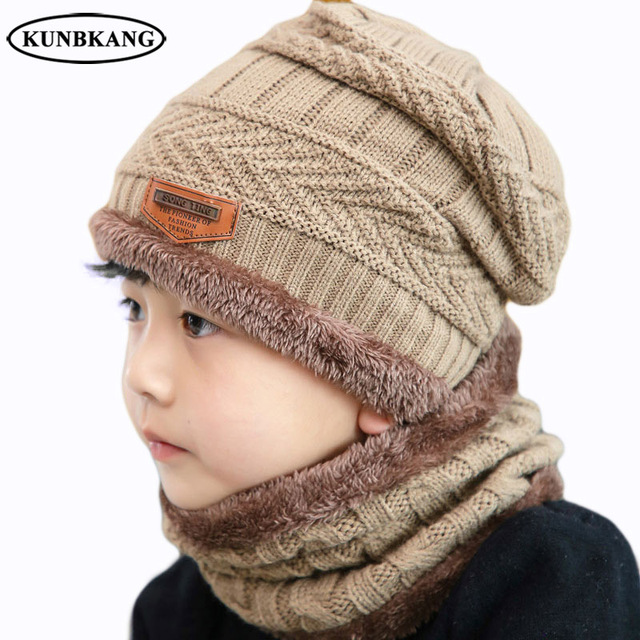 2018 Winter Hat Children 2Pcs Knit Beanie For Kids Boys Girls Hat Scarf Set  Winter Mask 6d971c73fabf