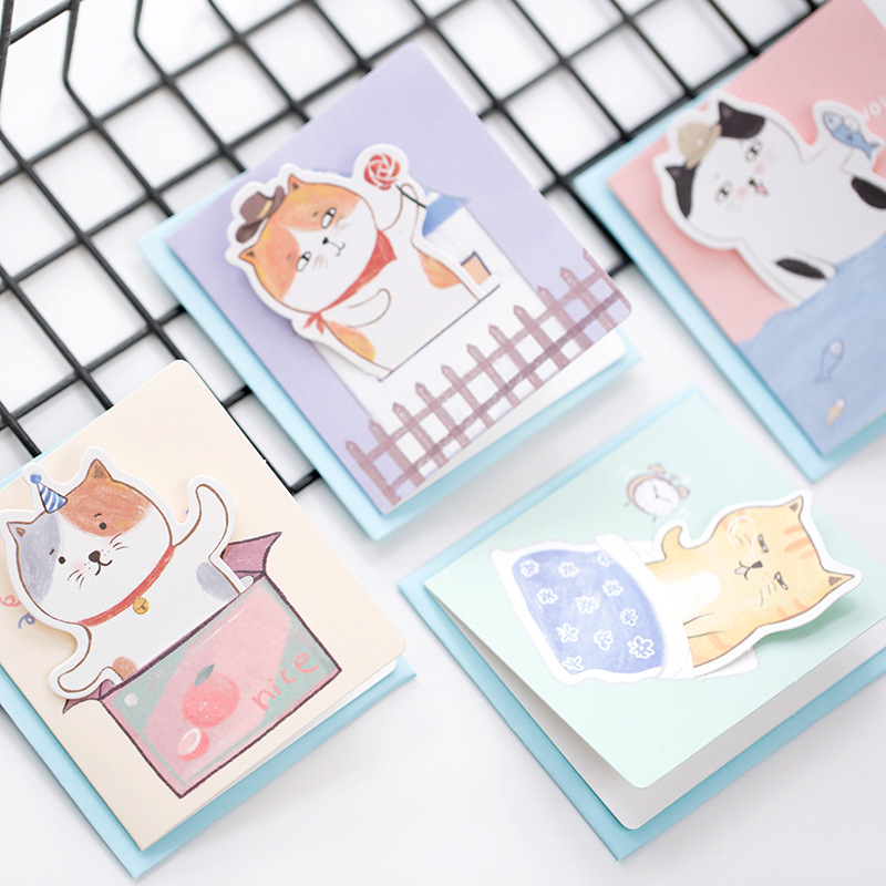 3X Kawaii Cat Kitten Greeting Card +Envelope Gift Cards For Festival Wishing Cards