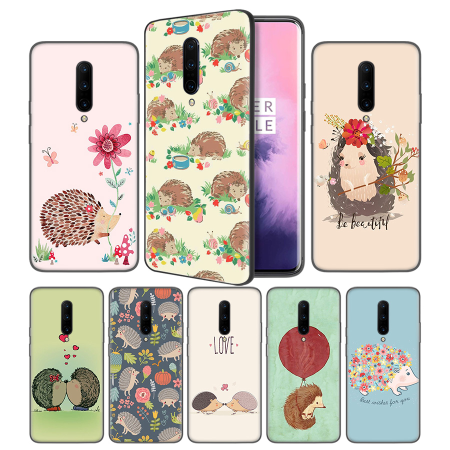 Hedgehog Cute Soft Black Silicone Case Cover for font b OnePlus b font 6 6T font