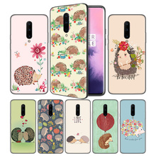 Hedgehog Cute Soft Black Silicone Case Cover for OnePlus 6 6T 7 Pro 5G Ultra-thin TPU Phone Back Protective