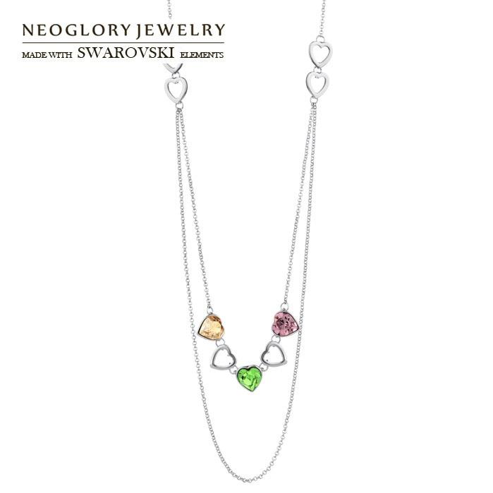Neoglory цепочка с австрийским кристаллом длинные ожерелья подвески сердце любовь для женщин бренд Новинка Модные украшения CN1 - Окраска металла: Имитация родиевого покрытия