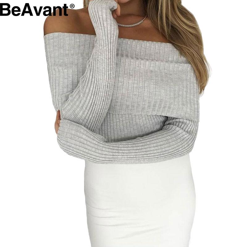 BeAvant Off shoulder knitted sweater women 2016 Winter black oversized sweaters and pullovers Autumn pink jumper pull femme